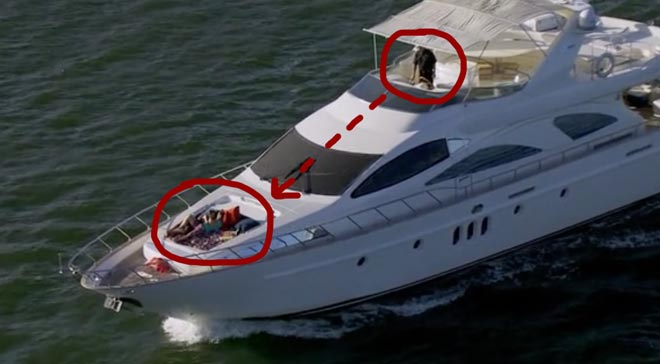 Bachelor Juan Pablo and Sharleen kiss on the yacht in Miami.