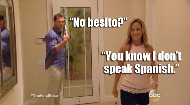 Bachelor Juan Pablo wants a besito from Clare.