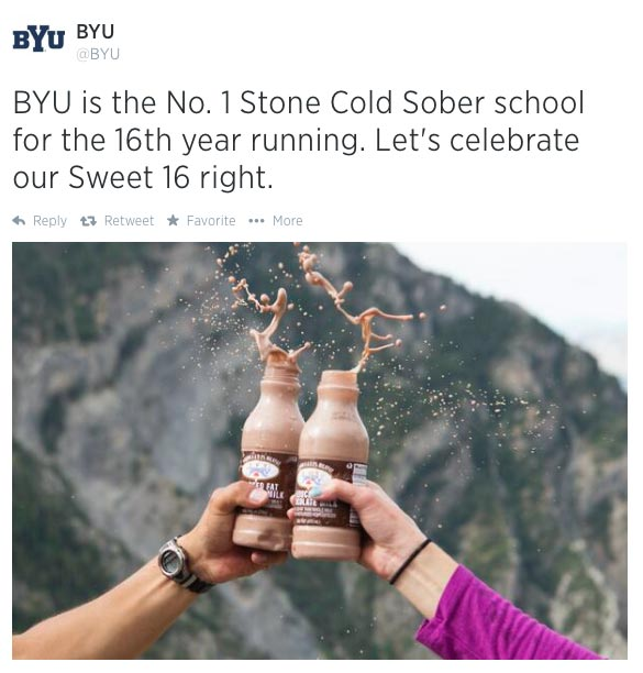 BYU was voted the most sober school for 16 straight years.