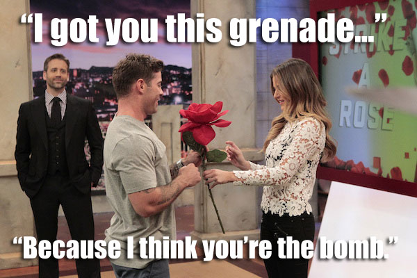 Alex presents Bachelorette JoJo with a rose on the set of ESPN SportsNation.