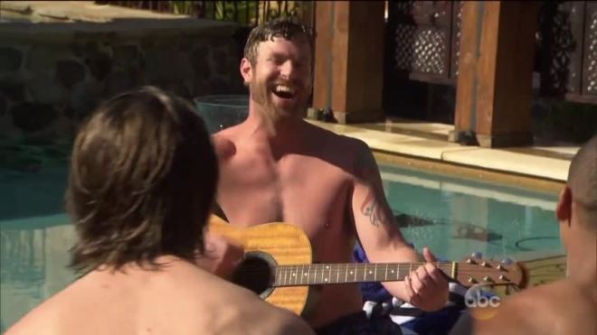 James Taylor on JoJo Bachelorette sings by the pool.