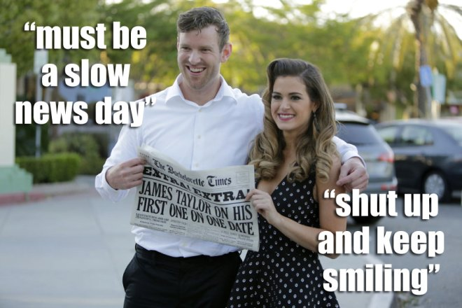 james T. and JoJo pose with a newspaper after their swing date on the Bachelorette.
