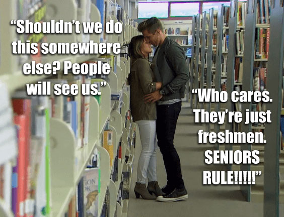 Jordan and JoJo kiss in the library on the Bachelorette.
