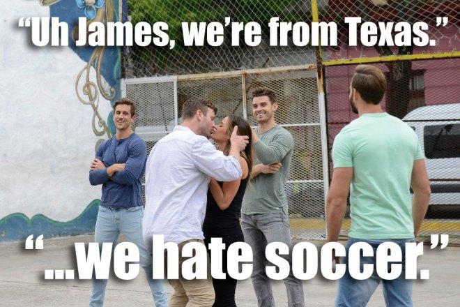 James kisses JoJo during their group soccer date on the Bachelorette.