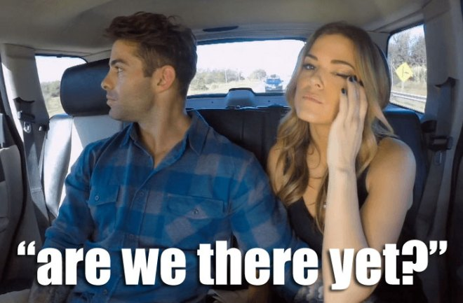 Alex rides in the back seat with JoJo on the way to their gaucho date in Argentina on the Bachelorette.