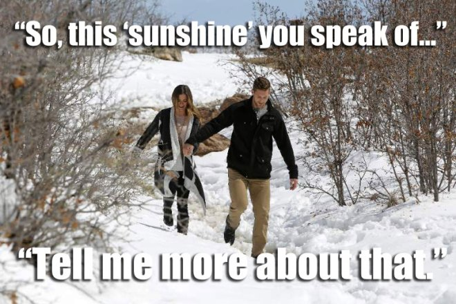 JoJo walks in the snow with Chase on their hometown date in Colorado on the Bachelorette.