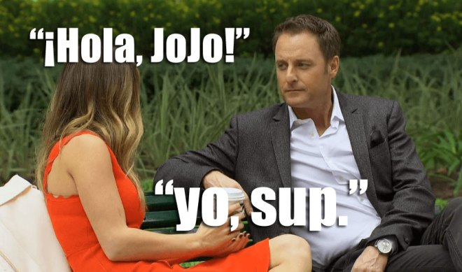 JoJo meets with Chris Harrison on a park bench in Argentina on the Bachelorette.