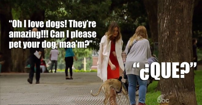 JoJo pets a dog in Argentina on the Bachelorette.