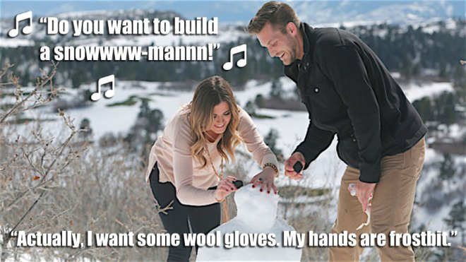 JoJo builds a snow man in the snow with Chase on their hometown date in Colorado on the Bachelorette.