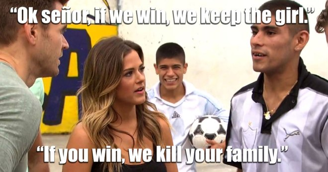 JoJo challenges Argentinians to a game of soccer on the Bachelorette.