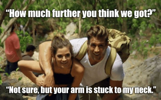 Jordan and JoJo hike on their fantasy suite date on the Bachelorette.
