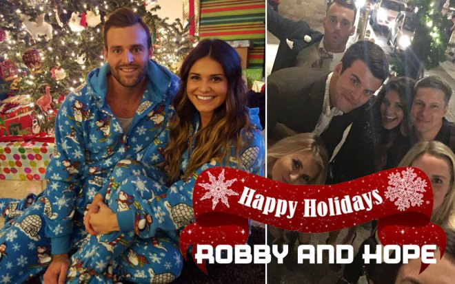 Robby and Hope pose for Christmas and new year's on the bachelorette.