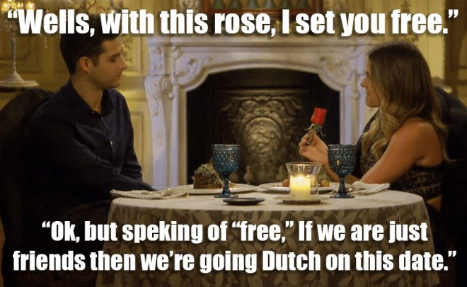 JoJo doesn't give Wells a rose on their one on one date on the Bachelorette.