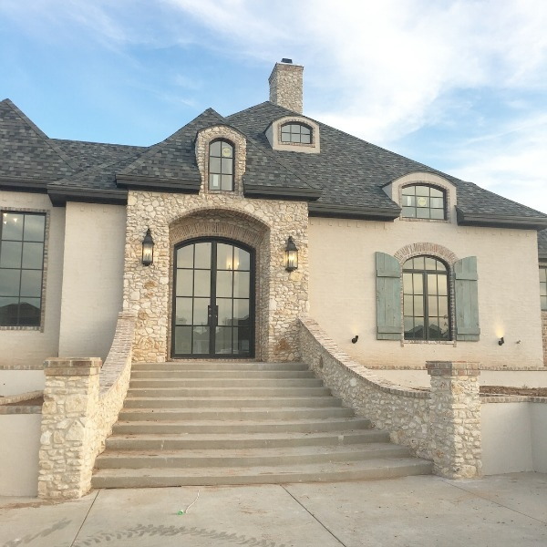 Country French Paint Colors Decor Ideas From A New Home With An   Exterior Front Stairs Designs   Curved   Simple   Front Look   Villa   1950 Bungalow
