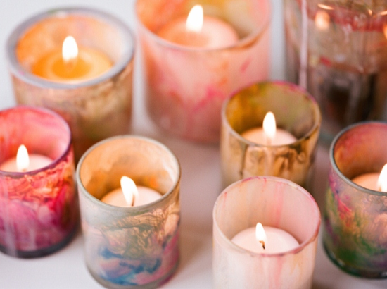 DIY-painted-votives-artistic-wedding-ideas