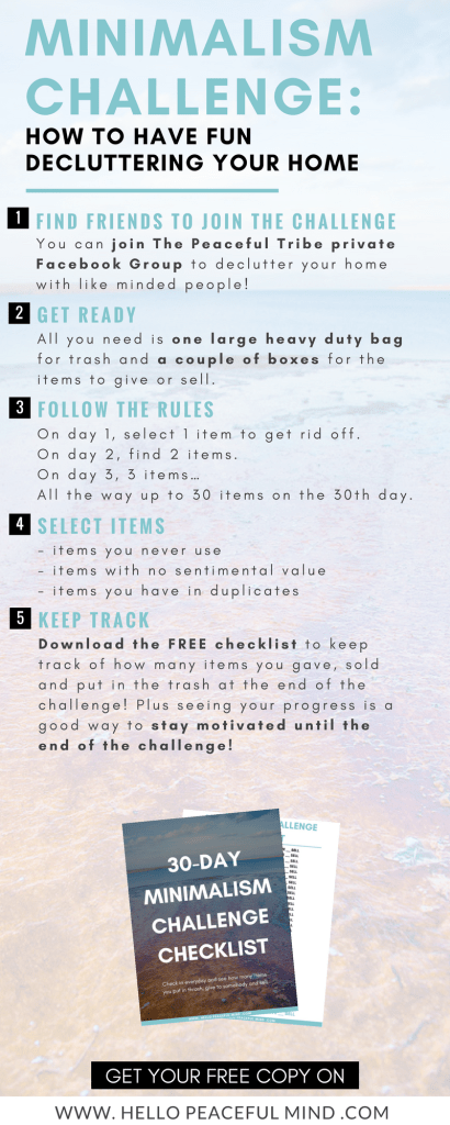 Declutter your life and download your free checklist to do the minimalism challenge on www,hellopeacefulmind.com