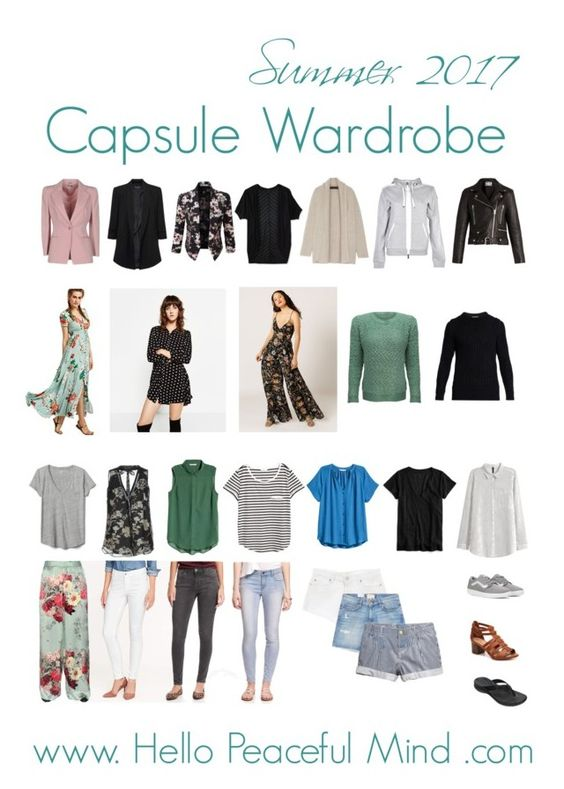 Summer 2017 Capsule Wardrobe. Discover how to easily create your own on www.HelloPeacefulMind.com
