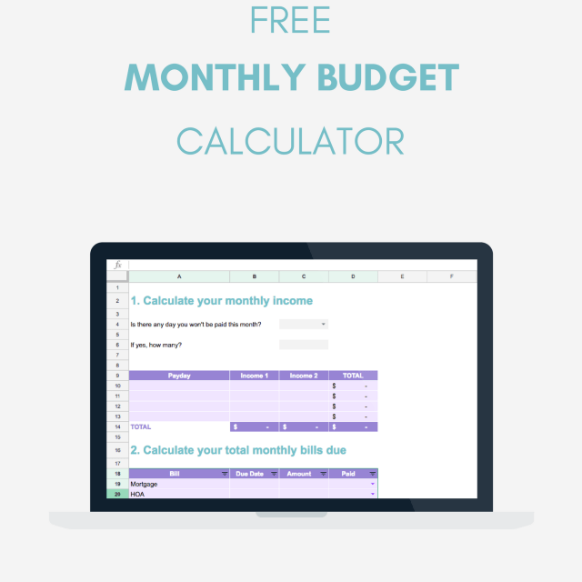 Download your FREE monthly budget calculator to help you plan your finances and find out how much you can save every month! Download it on www.HelloPeacefulMind.com