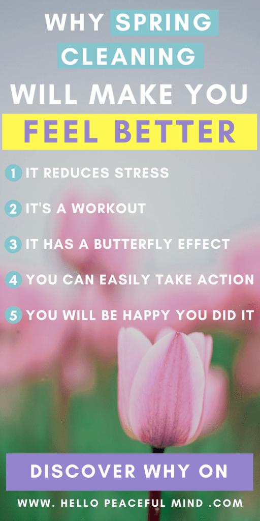 Discover how spring cleaning can help you feel better on www.HelloPeacefulMind.com #springcleaning #wellness #mentalhealthawareness