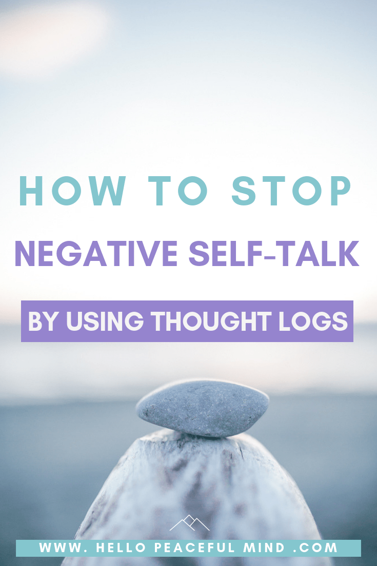 Find out how to stop negative #self-talk and be more #confident with the #cognitive triangle, by using a #thoughtlog on www.HelloPeacfulMind.com