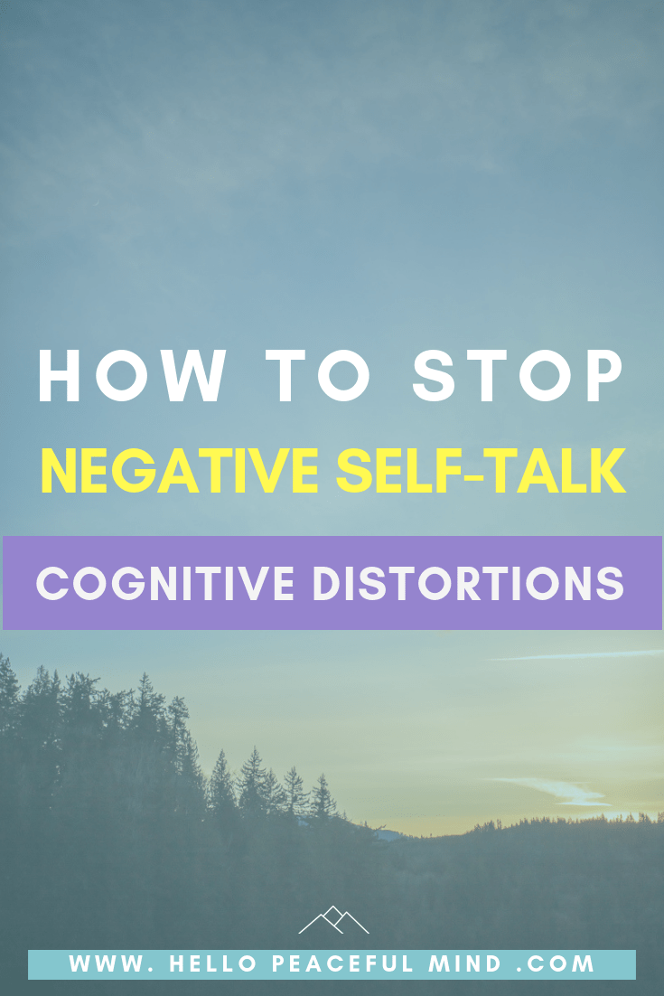 Stop negative self-talk and thinking by identifying cognitive distortions. Improve mood, reduce stress, feel better. Cognitive Behavioral self-help.