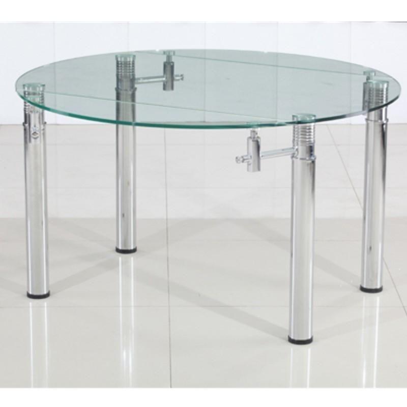table ronde en verre a rallonge extensible strass o 120 cm