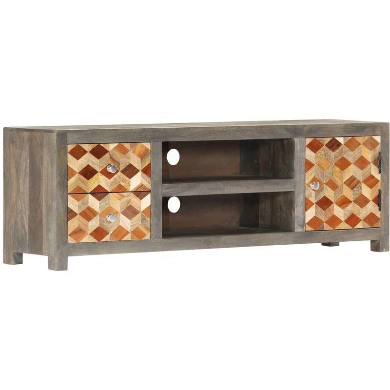 meuble tv gris 120 x 30 x 40 cm bois massif de manguier vidaxl