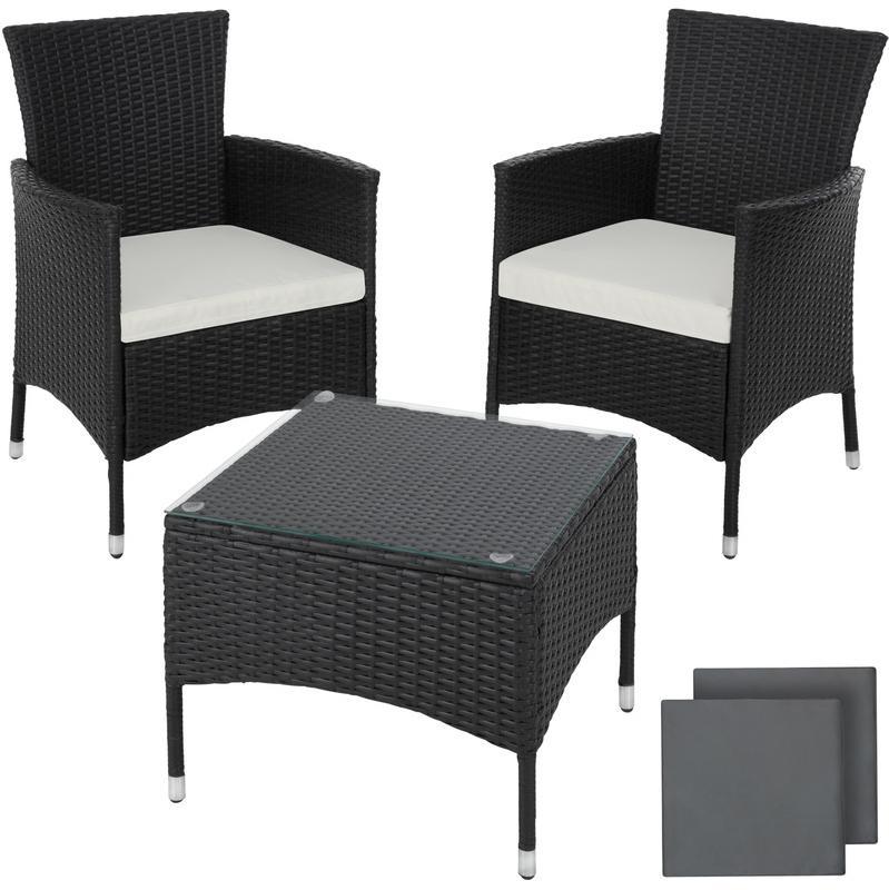 tectake salon de jardin lucerne 2 chaises fauteuils et 1 table en resine tressee noir