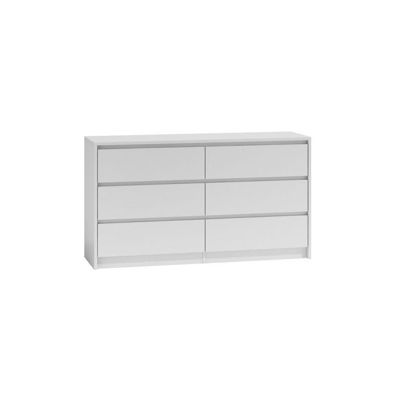 hucoco iris 140 commode chambre bureau salon 138x75x40 6 tiroirs meuble de rangement moderne chiffonier style scandinave dressing blanc