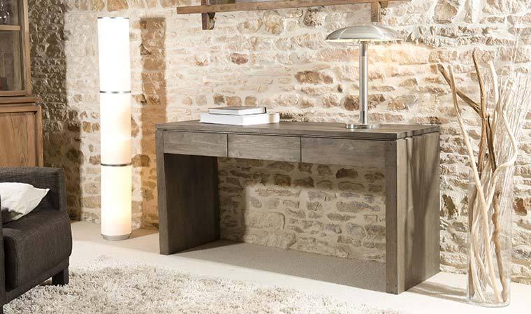 petits meubles de chambre console contemporaine en bois massif 3 tiroirs sumatra