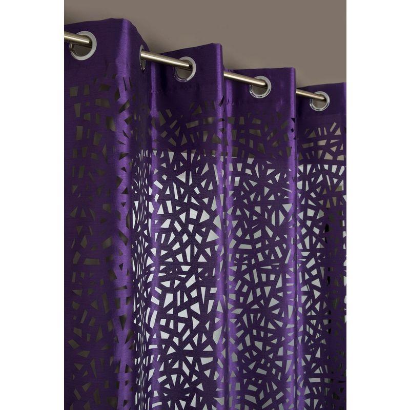 rideau a oeillets 140 x 240 cm motif lasercut abstrait violet violet rideaudiscount