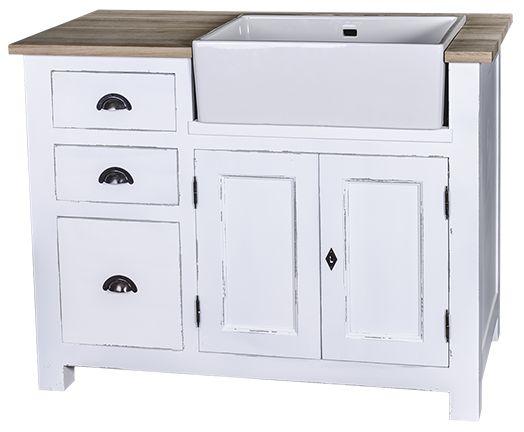 meuble sous evier 2 portes 1 etagere 3 tiroirs plateau zinc 118x65x90 cm pour evier de 57x43x20 cm