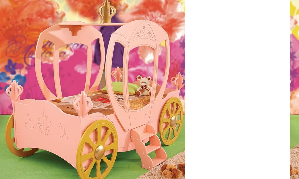 lit carrosse de princesse rose sweet avec sommier et matelas inclus