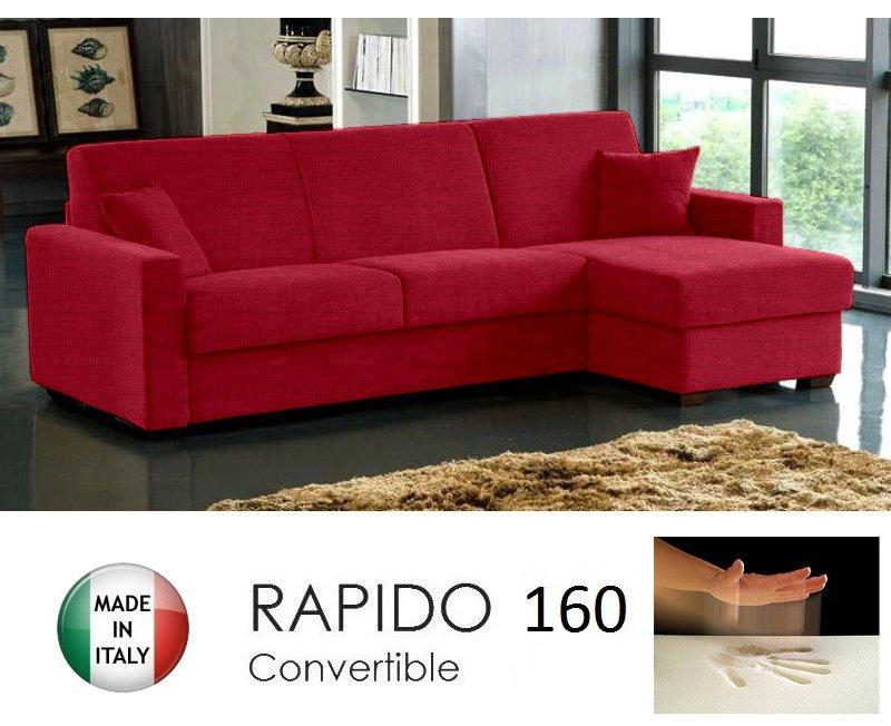 canape d angle dreamer rapido 160cm tweed rouge matelas memoire de forme