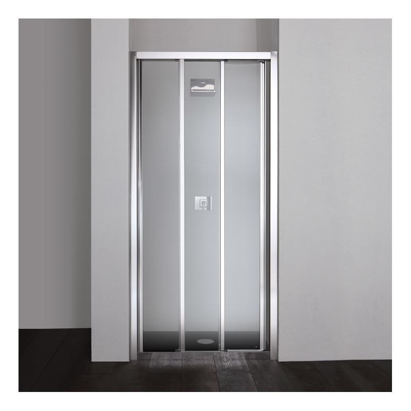 porte de douche en niche star 80 cm trois portes transparentes fermeture coulissante