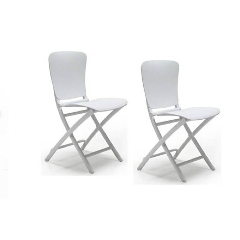 lot de 2 chaises pliantes zak design blanc