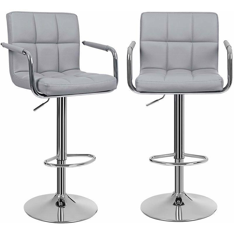 lot de 2 tabourets de bar haut chaise de bar pu chrome hauteur reglable grande base f41cm ljb93g songmics