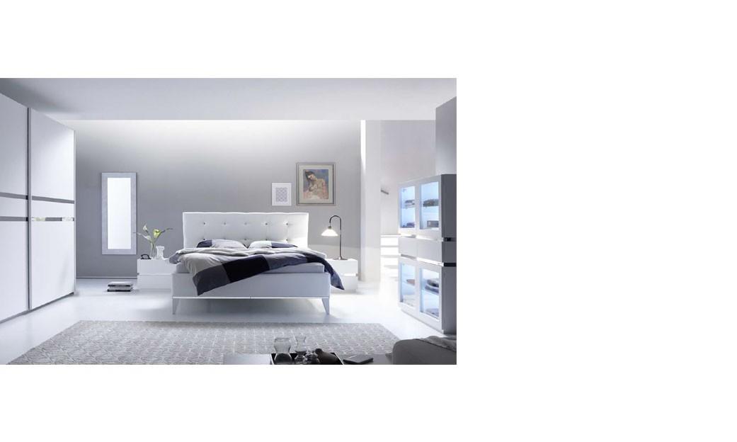chambre adulte design laque blanc et