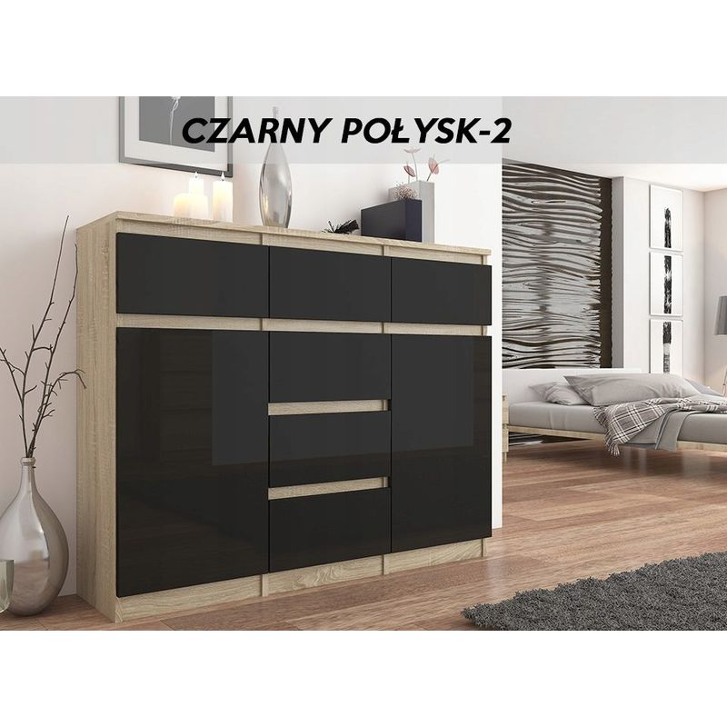 hucoco monaco s2 commode moderne meuble rangement chambre salon 120x40x98 cm 6 tiroirs 2 portes finition laquee buffet sonoma noir