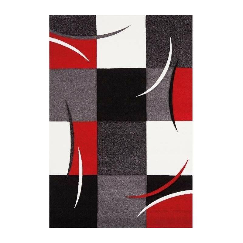 diamond tapis de salon 80x150 cm rouge gris noir et blanc