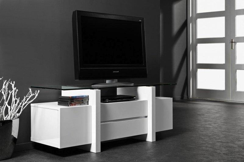 meuble tv design laque banc et verre