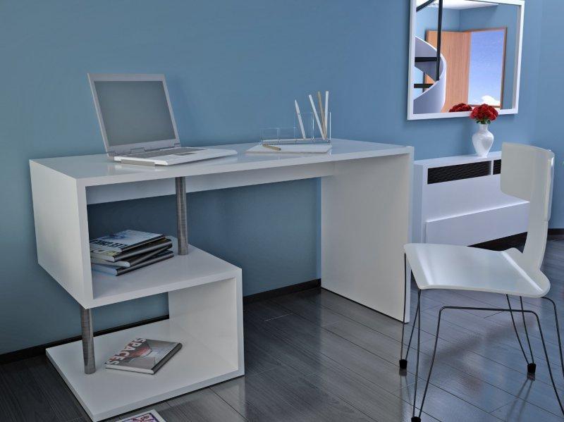 bureau esse scrivania blanc brillant