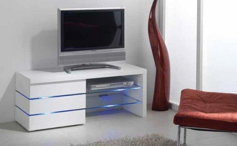 meuble tv leon blanc brillant et