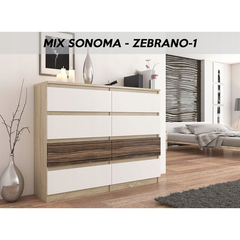 fira s3 commode contemporaine chambre salon bureau 140x40x98 cm 8 tiroirs meuble rangement scandinave dressing moderne sonoma blanc zebrano