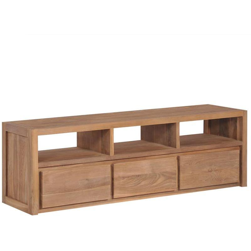vidaxl meuble tv bois massif de teck et finition naturelle 120x30x40cm