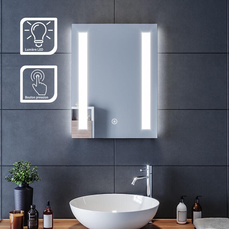 Miroir De Salle De Bain 45x60 Cm Miroir Avec Eclairage Led Miroir Cosmetiques Mural Interrupteur Tactile Sirhona Comparer Les Prix De Miroir De Salle De Bain 45x60 Cm Miroir Avec Eclairage Led