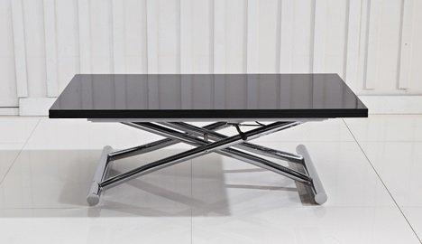 good table basse relevable extensible high and low noir brillant petite taille compacte with table basse ajustable en hauteur