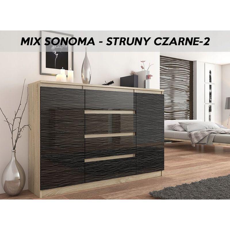 porto s2 commode contemporaine mobilier chambre salon 140x40x98 4 tiroirs 2 portes meuble finition laquee buffet sejour sonoma noir