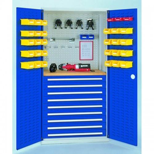 armoire d atelier a 2 tiroirs avec portes a fentes h1950xl1000xp600mm