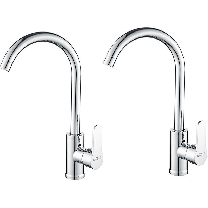 auralum 2pcs robinet de cuisine robinet mitigeur rotatif bec forme de u inox robinetterie evier chrome